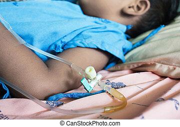 niño, poco, iv., enfermo, hospital, acostado