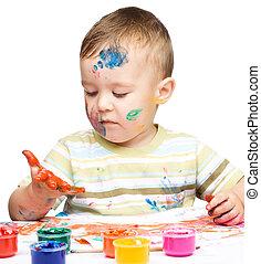 niño, poco, juego, pinturas