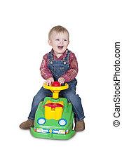 niño, poco, juguete, equitación, coche