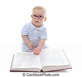 niño, poco, libro, lee, grande