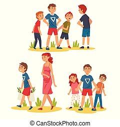 niño, poco, niños, bolsas de compras, mujer, conjunto, ...