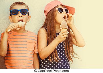 niño, poco, niños comer, cream., hielo, niña