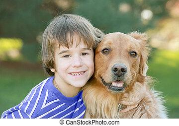 niño, poco, perro
