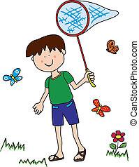 niño, poco, perseguir mariposas