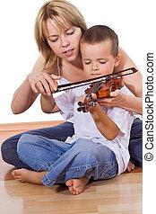 niño, poco, practicar, violín