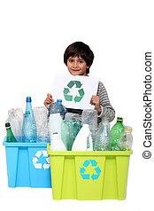 niño, poco, reciclaje