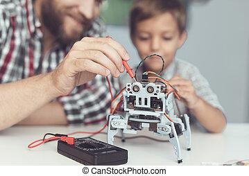 niño, poco, robot's, medida, multímetro, uso, performance., ...