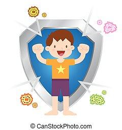 niño, poco, sano, inmune, virus, bacterias