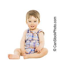 niño, poco, sentado, encima, aislado, sonriente, bebé, blanco, niño, feliz