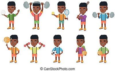 niño, poco, set., vector, africano, ilustraciones