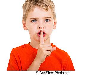 niño, poco, silencio, gesto