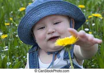 niño, poco, sombrero