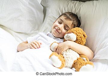 niño, poco, sueño, cama, soñar
