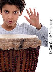 niño, poco, tambor, bongo