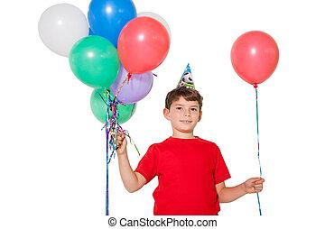 niño, poco, tenencia, feliz, globos, ramo