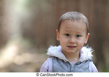niño, poco, viejo, años, 3, aire libre