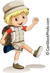 niño, poco, yendo, mochila, campamento