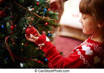 niño, por, árbol de navidad