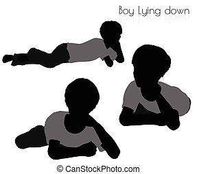 niño, postura, abajo, plano de fondo, blanco, acostado