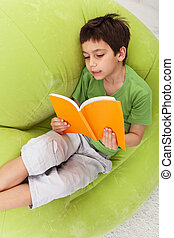 niño, práctica, lectura