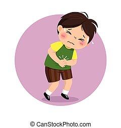 niño, problemas, ilustración, sufrimiento, vector, concept...