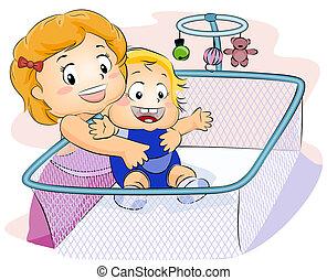 niño, proceso de llevar, bebé
