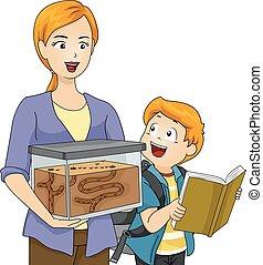 niño, proyecto, niño, escuela, granja, mamá, hormiga