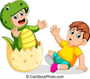 niño, rex, el suyo, cuándo, sorprendido, tyrannosaurus, disfraz, utilizar, amigo, huevo, came, afuera