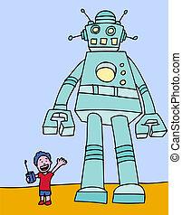 niño, robot, equipo