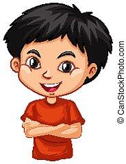 niño, rojo, feliz, uno, camisa