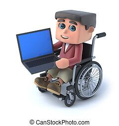niño, sílla de ruedas, pc, usar la computadora portátil, 3d