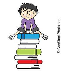 niño, saltar, algunos, libros
