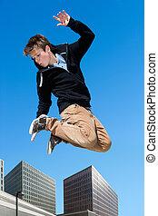 niño, saltar, city., energético