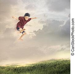 niño, saltar, joven, feliz