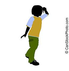 niño, silueta, caucásico, ilustración