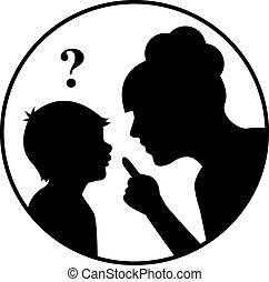 niño, silueta, viragos, madre
