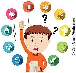 niño, sobre, trabajo, escuela, hacer preguntas