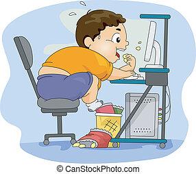 niño, sobrepeso, comida