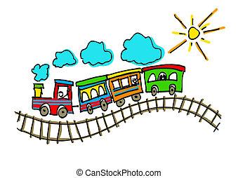 niño, sol, barandas, tren, ilustración, representar, dibujo