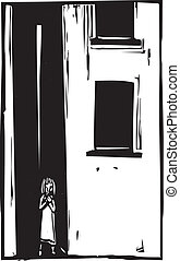 niño, solamente, en, callejón