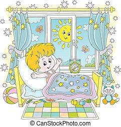 niño, soleado, mañana, arriba, brillante, poco, despertar