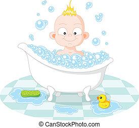 niño, sonreír feliz, baño
