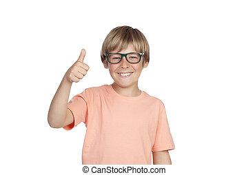 niño, sonriente, anteojos, aprobar, refrán