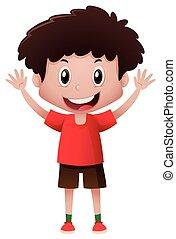 niño, sonriente, camisa, rojo