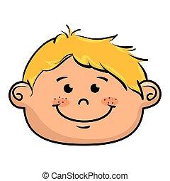niño, sonriente, caricatura