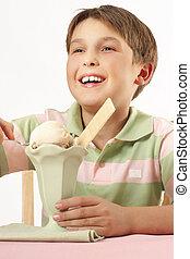 niño, sonriente, desierto, helado