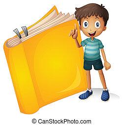 niño, sonriente, libro, amarillo