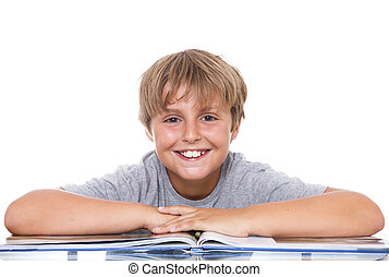 niño, sonriente, libro, tabla
