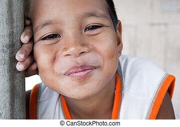 niño, sonriente, philippine