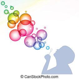 niño, soplar, bubbles., vector, plano de fondo